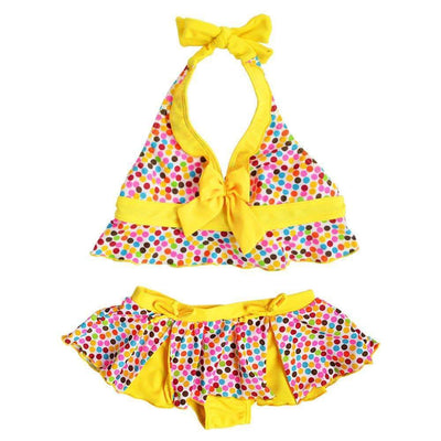 New Arrival Cute Multicolor Dots Halter Bikini Swimsuit for Girls, Girl Swimsuits - Peeksify.com
