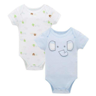2PCS Set Cute Short Sleeve Soft Cotton Bodysuit for Baby Boys [Elephants] - Peeksify.com