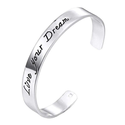 Silver Plated Engraved Open Cuff Bracelet - Live your Dream - Peeksify.com