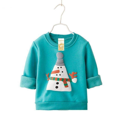 Winter Long Sleeve Printed Snowman Casual Pullover for Baby Boys & Girls - Peeksify.com