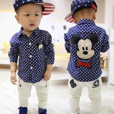 Mickey Mouse Navy Blue White Dotted Long Sleeve Shirt for Boys, Boy Shirts - Peeksify.com