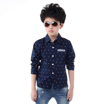 Fashion Casual Anchors Printed Cotton Long Sleeve Shirt for Boys, Boy Shirts - Peeksify.com