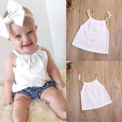Summer Fashion Crochet Lace Floral White Cotton Blouse for Baby Girls - Peeksify.com
