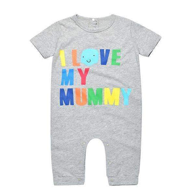 I Love My Mummy Letters Printed Short Sleeve Cotton Jumsuit for Baby Boys, Baby Boy Playsuits - Peeksify.com
