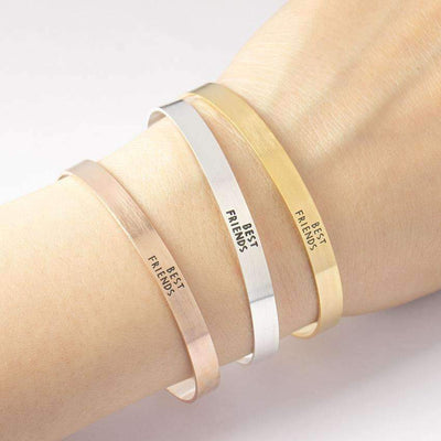 Silver Plated Engraved Cuff Bracelets - BEST FRIENDS - Peeksify.com