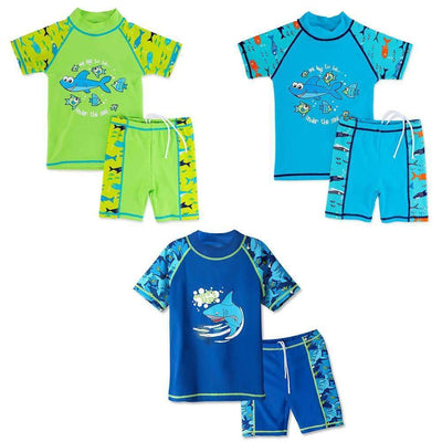 Summer Cartoon Fish Designs Two Piece with Shorts Swimsuit Set with Sun Protection (UPF50+) - Peeksify.com