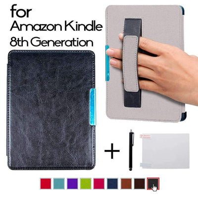 Magnetic Folio PU Leather Smart Cover Case with Hand Grap for Kindle [8th Generation 2016] E-Reader - Peeksify.com