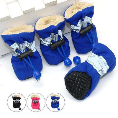 4pcs Waterproof Winter Anti-Slip Rain Snow Warm Shoes for Dogs, Dogs Clothing - Peeksify.com
