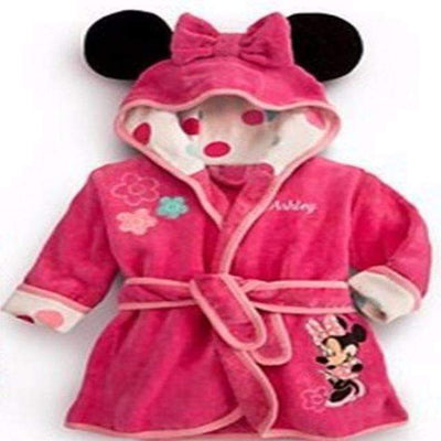 Minnie Mouse Cartoon Soft Flannel Bathrobe Towel for Girls - Peeksify.com