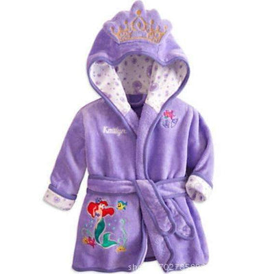The Little Mermaid Cartoon Soft Flannel Bathrobe Towel for Girls - Peeksify.com