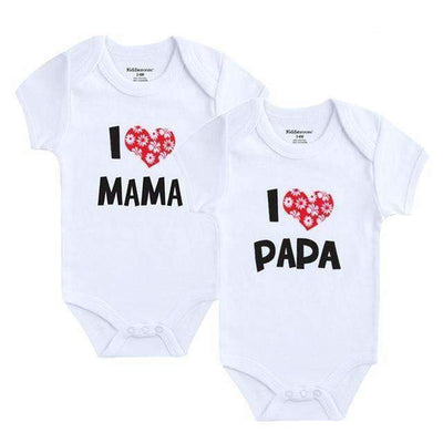 2PCS I Love Papa & I Love Mama Printed Short Sleeve Cotton Bodysuit for Baby Boys - Peeksify.com