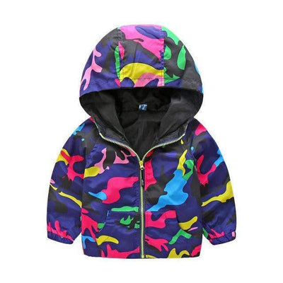 Sport Hooded Multicolored Outdoor Windbreaker Jacket for Girls - Peeksify.com