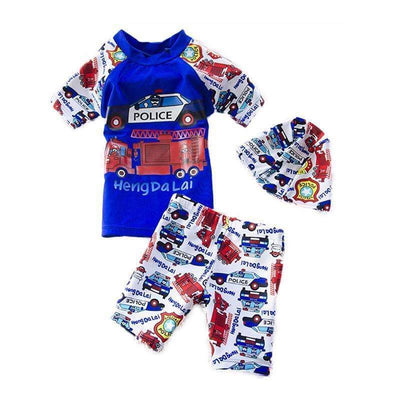 New Emergency Vehicles Printed Cartoon 2 Piece Swimsuit Set for Boys, Boy Swimsuits - Peeksify.com