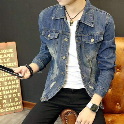 Fashion Vintage Denim Jeans Color Casual Slim Fit Long Sleeve Jacket for Men - Peeksify.com