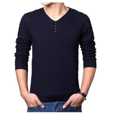 Winter Henley Neck Buttoned Cashmere Wool Pullover Sweater for Men - Peeksify.com