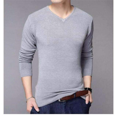 Casual Slim Fit Solid Color Classic V-Neck Wool Sweater for Men - Peeksify.com