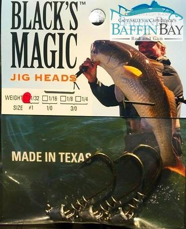 Blacks Magic Jig Heads MADE IN TEXAS NOT CHINA (Pack of 15 Hooks) 1/32 oz Jig Head Baffin Bay Rod And Gun Free Shipping
