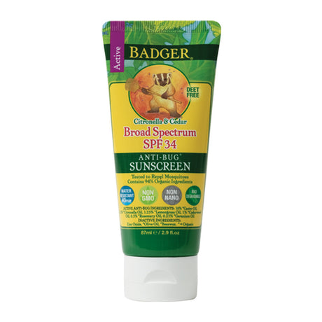 Badger Citronella & Cedar SPF 34 Anti-Bug Sunscreen DEET Free