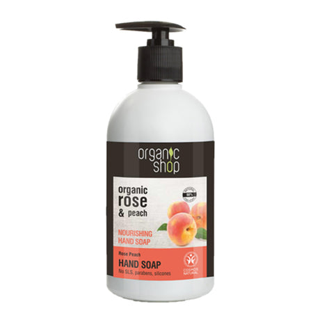 Organic Shop Rose and Peach Nourishing Hand Soap