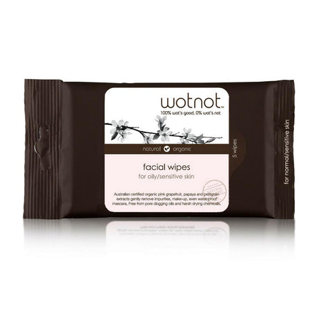 Wotnot Natural Face Wipes Oily/Sensitive Skin 5pk