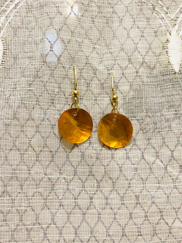 Gold natural shell earrings One of a Kind