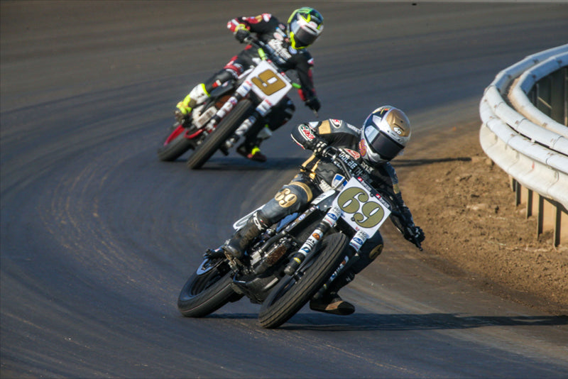 Sammy Halbert (69) leads Jared Mees (9) during the AFT SuperTwins race at Springfield Mile I in 2020. Photo by Scott Hunter, courtesy AFT.