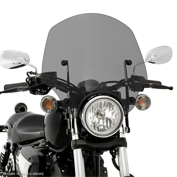 "15"" Black Smoke El Paso Sportshield Windshield on a Yamaha XVS950 Bolt"