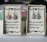 Item# H003 - Rose gold CZ bridesmaids earrings, Cubic Zirconia drop earrings