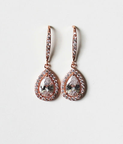 Item# H002 - Cubic Zirconia Long Hook Earring