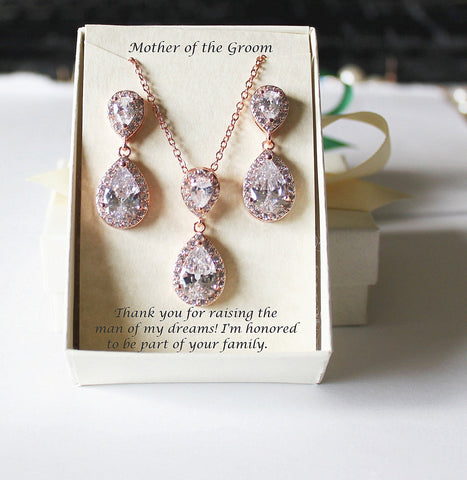Bridal Jewelry Set- Double Tear Drop CZ Necklace and Earrings Set