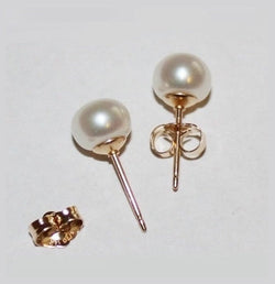 7.5 mm Genuine Pearl stud earrings, 14K gold fill pearl studs, gold pearl studs, Pearl earrings,Bridesmaids earring, maid of honor