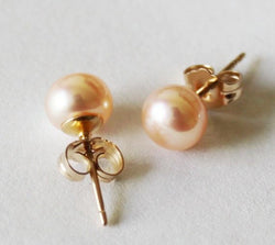 6-7mm AAA Genuine Peach Pearl Stud earrings, 14K Gold fill post earrings, Rose gold pearl studs, Bridesmaids earrings, Flower girl earrings