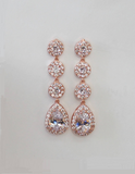 Item# S014 - Long Bridal Earrings with 4 Cubic Zirconia