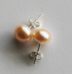 8-9mm Natural Peach Champagne pearl earring studs, Gold Peach pearl studs, Sterling Silver, Bridesmaid earrings, Gold pearl earrings