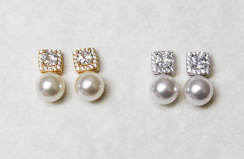 Item# S018 - CZ and Pearl earrings, Bridesmaid jewelry