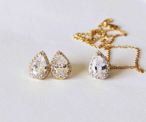 Gold Bridesmaids gift set, Tear drop CZ necklace earrings SET, Cubic Zirconia gifts, Bridal jewelry set, Pear CZ necklace and earrings