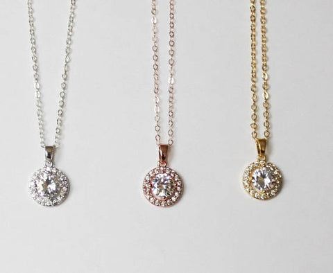 e04727596bafd Bridesmaids necklace, 14K gold filled CZ necklace, Sterling silver Cubic  Zirconia necklace, Bridesmaids gift, Gold bridesmaids necklace