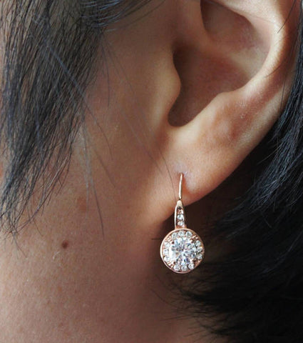 Item# H003 - Rose gold drop earrings, Cubic Zirconia hook earrings,