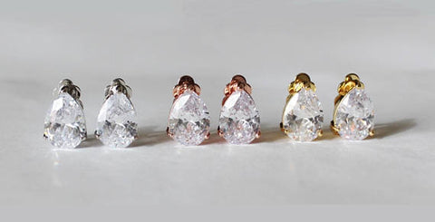 Item# S008 - Clip On tear drop crystal studs, Cubic Zirconia