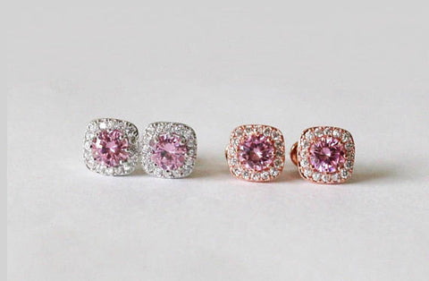 Item# S033 - Pink cubic zirconia earrings, Bridesmaids earrings
