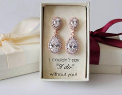Item# S010 - Double Tear Drop Cubic Zirconia Earrings Stud, Dangle Earrings, Bridesmaids Earrings