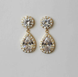Item# S012 - Double Cubic Zirconia Earrings , Teardrop and Round CZ,  Hypoallergenic