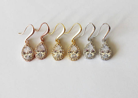 Item# H001 - Tear drop hook CZ earrings, Cubic Zirconia dangle earrings