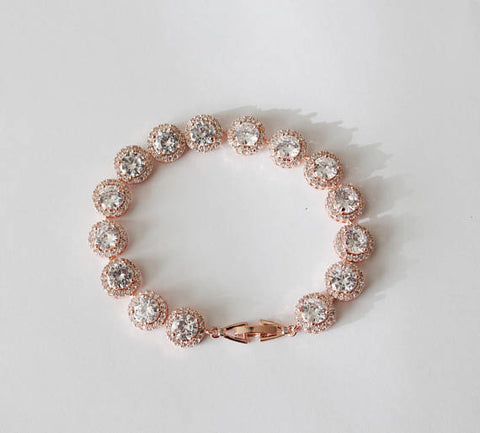 Bridal CZ bracelet, Round cubic zirconia bracelet, Bridesmaids jewelry, Bridal bracelet, Halo CZ Rose gold bracelet, Bridal party gifts