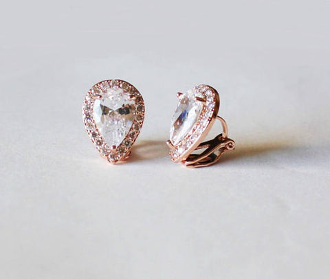Item# S004 - Clip On Tear Drop CZ studs, Cubic Zirconia Clip On Earrings,
