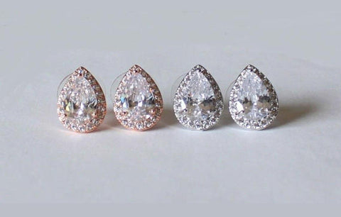 Item# S002 - Tear Drop CZ stud earrings, Hypoallergenic Surgical Steel Post