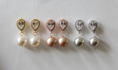 Item# S017 - Bridesmaids earrings, Pearl and CZ drop earrings