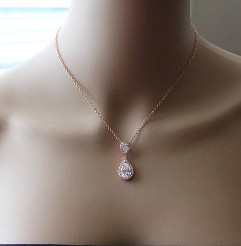 Bridesmaids gift, Double Tear Drop CZ ecklace, Silver Cubic Zirconia necklace, Rose gold necklace, Gold bridal necklace, 14K gold filled