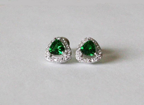 Item# S034 - Triangle CZ studs, Green cubic zirconia earrings,