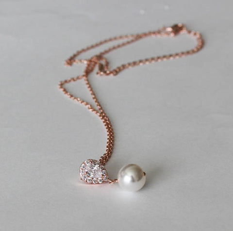 Bridesmaid necklace, Cubic Zirconia and pearl necklace, Bridal party jewelry, Bridesmaids gift, Bridal necklace, CZ jewelry, Wedding gifts